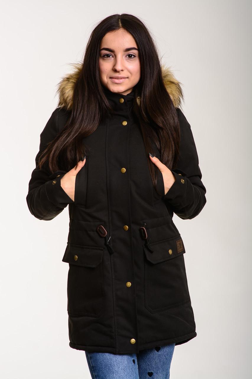 Женская зимняя парка на овчине Node black parka, теплая женская куртка черная