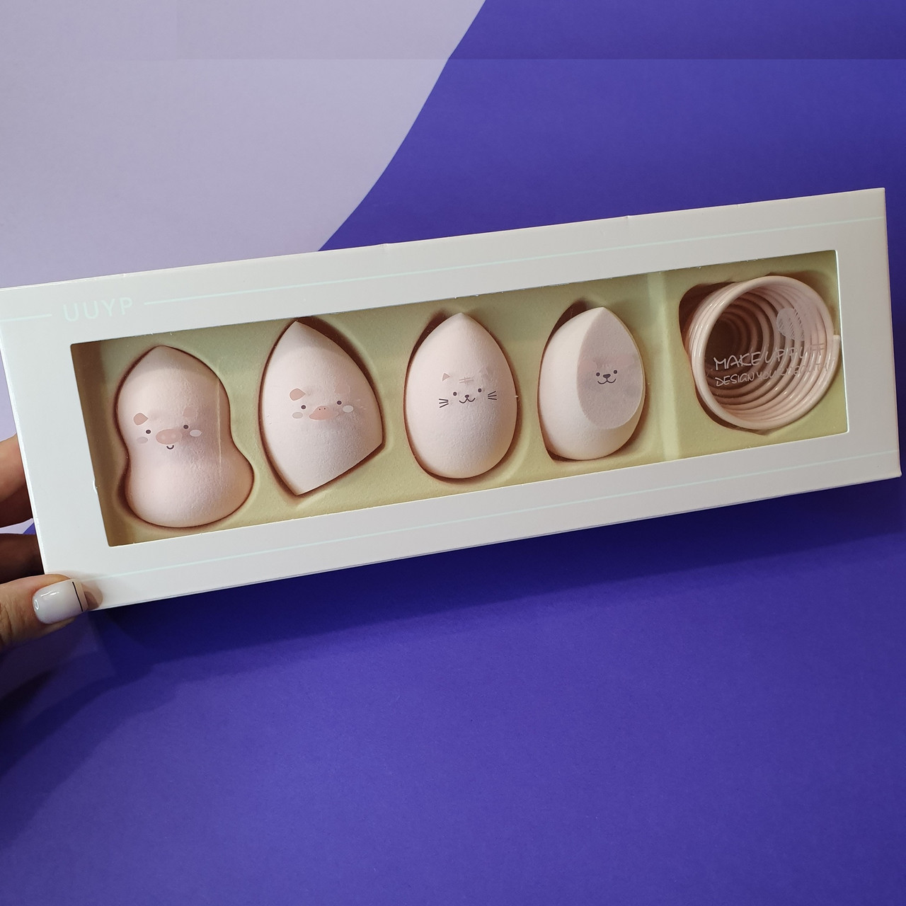 Набор спонжей с подставкой Make Up Puff Design Your Beauty (4 спонжа и 1 подставка)