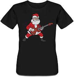 Женская футболка Rockin' Santa (чёрная)