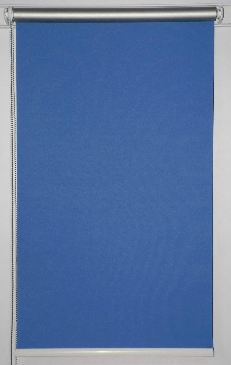 Готовые рулонные шторы 975*1500 Ткань Блэкаут Сильвер Синий