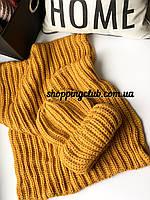 Женский шарф хомут (снуд) желтый шерсть/акрил
