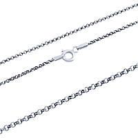 Серебряная цепочка без камней 45 см - цепочка из серебра 925 пробы родированная производства Италия