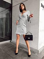 Женское красивое короткое платье на запах трикотаж с люрексом