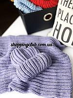 Женский шарф хомут (снуд) фиолетовый шерсть/акрил