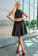 Модная черная юбка ДИВА до колена с вставками кожи (эко кожа) расклешенная