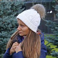 Зимняя белая женская шапка с меховым помпоном, двойная