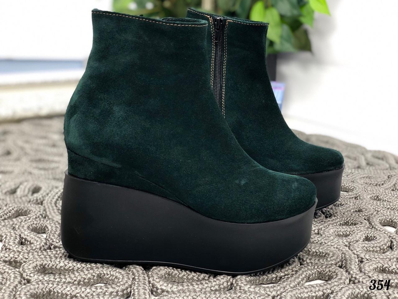 41 р. Ботинки женские зимние зеленые замшевые на танкетке, из натуральной замши, натуральная замша