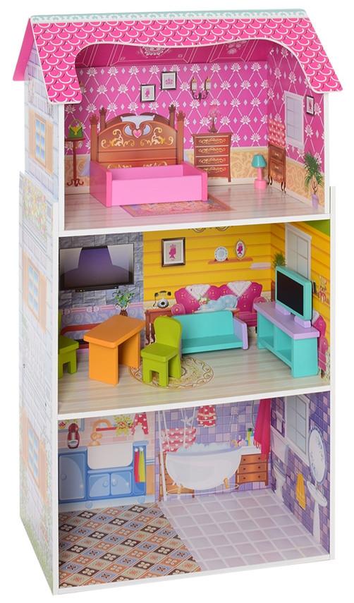 Деревянный кукольный домик MD 1549 3 этажа, мебель.