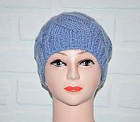 Шерстяная женская шапка голубая, красивая вязка коса, шерсть, ручная работа