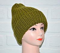 Шерстяная женская шапка зеленая, красивая вязка коса, шерсть, ручная работа