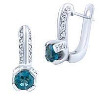 Серебряные серьги ShineSilver с натуральным топазом Лондон Блю (0638539)