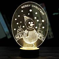 3D светильник ночник  1114 (Снеговик) (2_006523)