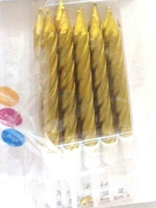 Набор свечей для торта 1286 Золотой перламутр (10шт)