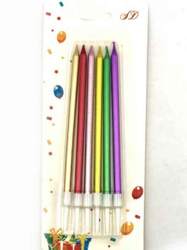 Набор свечей для торта 2364 Разноцветный перламутр (6шт)