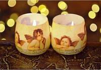 Свечи в стакане Рождественские ангелы ароматизированные декоративные