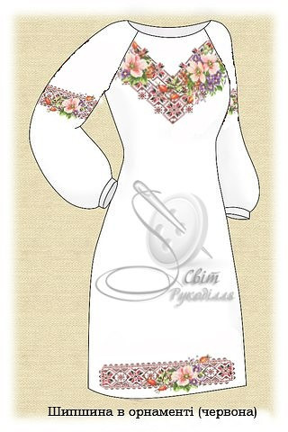 Заготовка на платье женское. Світ Рукоділля. Шипшина в орнаменті ... 829674f59fda0