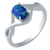 Серебряное женское кольцо с опалом и фианитами 17 размер - женское кольцо с очень красивым камнем Опал