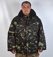 Теплый армейский бушлат на овчине Украинский дуб - Арт 23-7