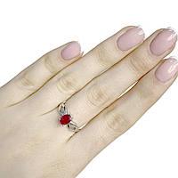 Серебряное женское кольцо с натуральным рубином 18 размер ShineSilver