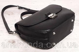 581 Натуральная кожа Сумка женская черная Кожаная сумка черная через плечо женская сумка натуральная кожа, фото 2
