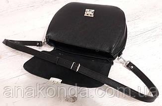 581 Натуральная кожа Сумка женская черная Кожаная сумка черная через плечо женская сумка натуральная кожа, фото 3