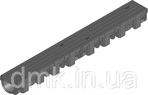 Жолоб HAURATON TOP Х (119 х 89 х 1000), PE-PP (чорний) з решіткою PP -copo прямокут.  1 м.п.