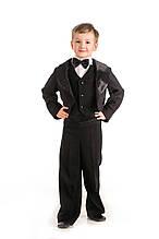 Детский карнавальный нарядный костюм для мальчика Черный фрак 100-110, 110-120, 120-130, 130-140 черный