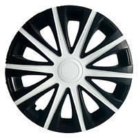Колпаки на колеса R15 черные + белый + карбон, Star Maibax Super Black White (5334) - комплект (4 шт.)