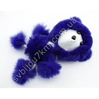 """Оригинальный меховой брелок для ключей и сумок """"Собачка"""" фиолетового цвета"""