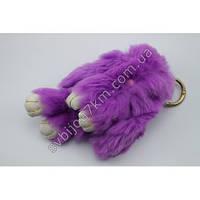 """Оригинальный меховой брелок """"Кролик"""" брелок для ключей и рюкзаков фиолетового цвета"""