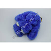 """Оригинальный меховой брелок """"Кролик"""" брелок для ключей и рюкзаков синего цвета"""