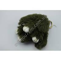 """Оригинальный меховой брелок """"Кролик"""" брелок для ключей и рюкзаков темно зеленого цвета."""