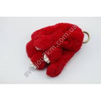 """Оригинальный меховой брелок """"Кролик"""" брелок для ключей и рюкзаков красного цвета."""