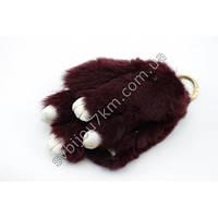 """Оригинальный меховой брелок """"Кролик"""" брелок для ключей и рюкзаков бордового цвета."""