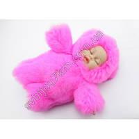 Брелок с мехом пупс-оригинальный брелок с мехом кукла-пупс розового цвета