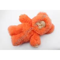 Брелок с мехом пупс-оригинальный брелок с мехом кукла-пупс оранжевого цвета