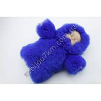 Брелок с мехом пупс-оригинальный брелок с мехом кукла-пупс синего цвета