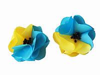 Заколка Дикие маки сине-желтые (Украинские венки, обручи, заколки)