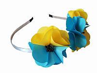 Обруч Дикие маки сине-желтый  (Украинские венки, обручи, заколки)