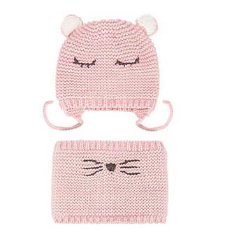 Детский комплект шапка и снуд для девочки Berni Розовый (52449)