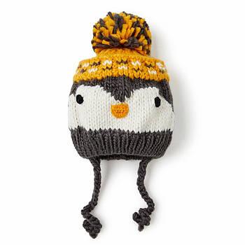 Зимняя шапка для мальчика на завязках с подкладкой из хлопка Berni Серая с желтым (52453)