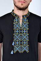 Черная мужская футболка-вышиванка трикотажная