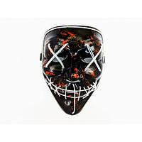 Неоновая маска Purge Mask из фильма Судная ночь Белая с пультом управления (2186-DM)