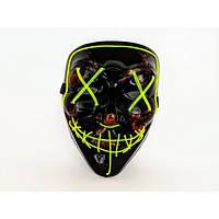 Неоновая маска Purge Mask из фильма Судная ночь Желтая с пультом управления (2189-DM)