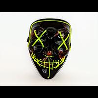 Неоновая маска Purge Mask из фильма Судная ночь Зеленая с пультом управления (2188-DM)