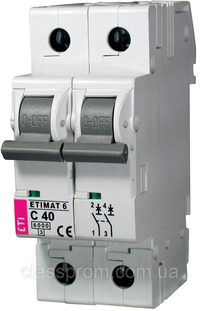 Автоматический выключатель ETIMAT 6 2p C 40А (6kA), ETI, 2143520