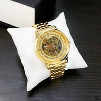 Оригинальные мужские часы наручные водонепроницаемые Winner Original Silver-Gold (1099-0019G-AB)
