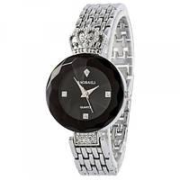 Женские часы наручные водонепроницаемые Baosaili Original Сапфир Silver-Black (1117-0002G-AB)