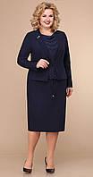 Сукня Лінія-Л-Б-1775 білоруський трикотаж, темно-синій, 54, фото 1
