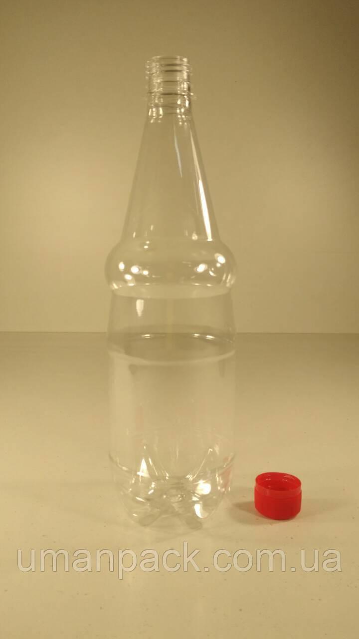 Пластиковая бутылка  ПЭТ 1,0 л, прозрачная с крышкой (120 шт)